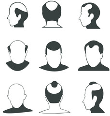 Silhouette Bald heads vector collection