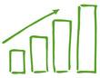 Balkendiagramm grün Anstieg