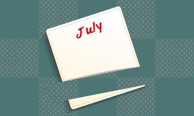 Calendar July note paper on checkered pattern