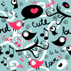 Seamless pattern with cute singing birds