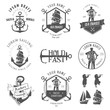 Set of vintage nautical labels, icons and design elements - 50657042