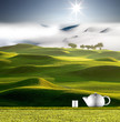 Tea pot with nice green background