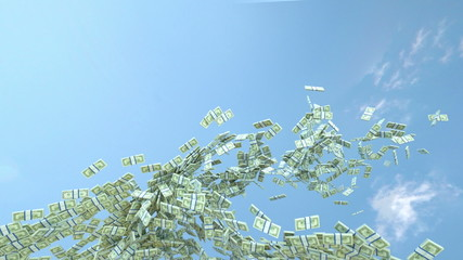 US dollar cash slow motion flow and blue sky. Alpha matte