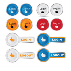 Vector round Login - Logout button set