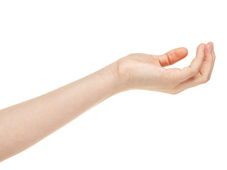 empty female teen hand