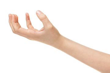 empty female teen hand