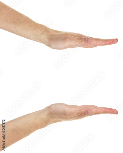 adult male hands measuring something