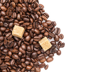 heap of coffee beans with cane-sugar