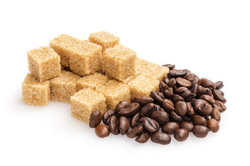 heap of sugarcane blocks and coffee beans