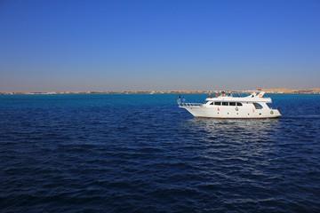 Motor yacht at sea