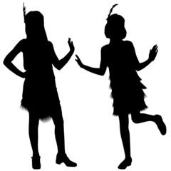 Silhouettes of kids from cabaret