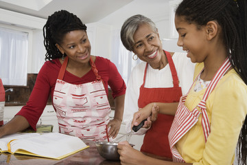 African family baking together