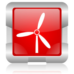 windmill red square web glossy icon
