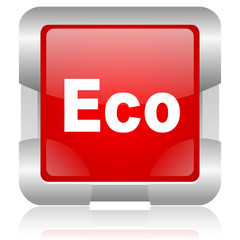 eco red square web glossy icon