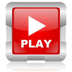 play red square web glossy icon