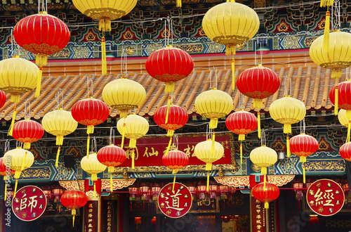 Paper lanterns in in Wong Tai Sin Temple in Hong Kong