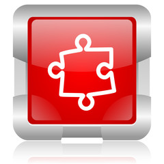 puzzle red square web glossy icon