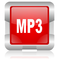 mp3 red square web glossy icon