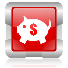 piggy bank red square web glossy icon