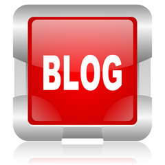 blog red square web glossy icon