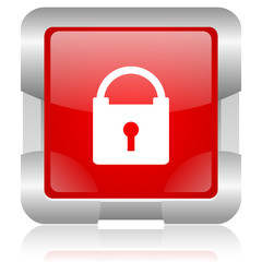 protect red square web glossy icon