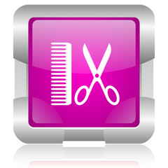 taxi pink square web glossy icon