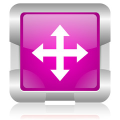 arrows pink square web glossy icon
