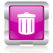 recycle pink square web glossy icon