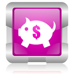 piggy bank pink square web glossy icon