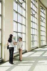 Businesswomen shaking hands in office lobby