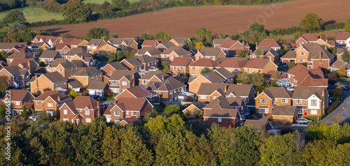 canvas print picture Aerial View of UK Houses