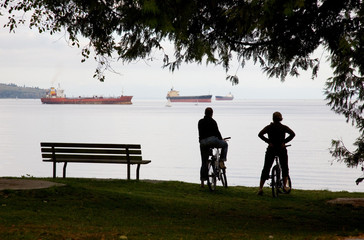 Vancouver cyclists resting