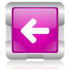 arrow up pink square web glossy icon