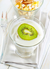 fresh yogurt and muesli in a glass