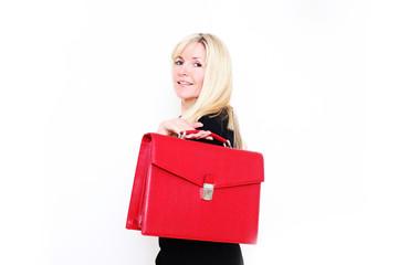 Geschäftsfrau mit roter Ledertasche