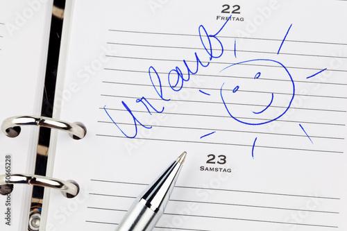 Eintrag im Kalender: Urlaub