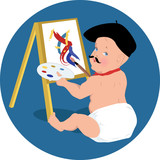 Funny baby painter in beret and with mustache
