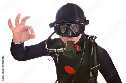 Portrait of Scuba Diver isolated on white