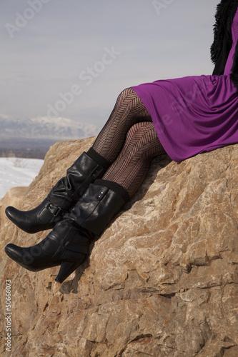 woman legs boots rock