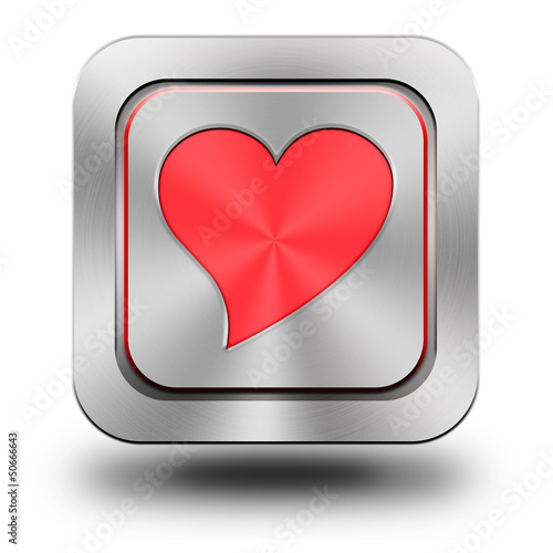 Red heart aluminum glossy icon