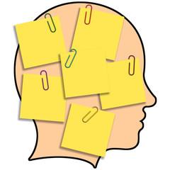 Ilustração - cabeça cheia de ideias