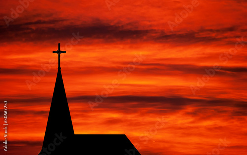 Church spire - religious church building silhouetted