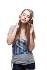 casual music girl on white