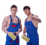 Two young painters posing in workwear poster