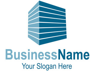 Logodesign mit blauem Quader und perspektivischen Streifen
