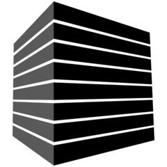 Schwarzer Quader mit perspektivischen Streifen – Vektor