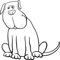 funny big dog cartoon for coloring book
