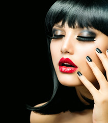 Fashion Girl Closeup. Red Lips And Black Nails