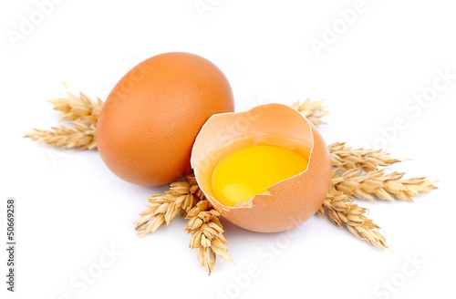 Fresh eggs and wheat