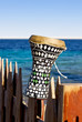 ethnic drum with a sea background. darbuka.